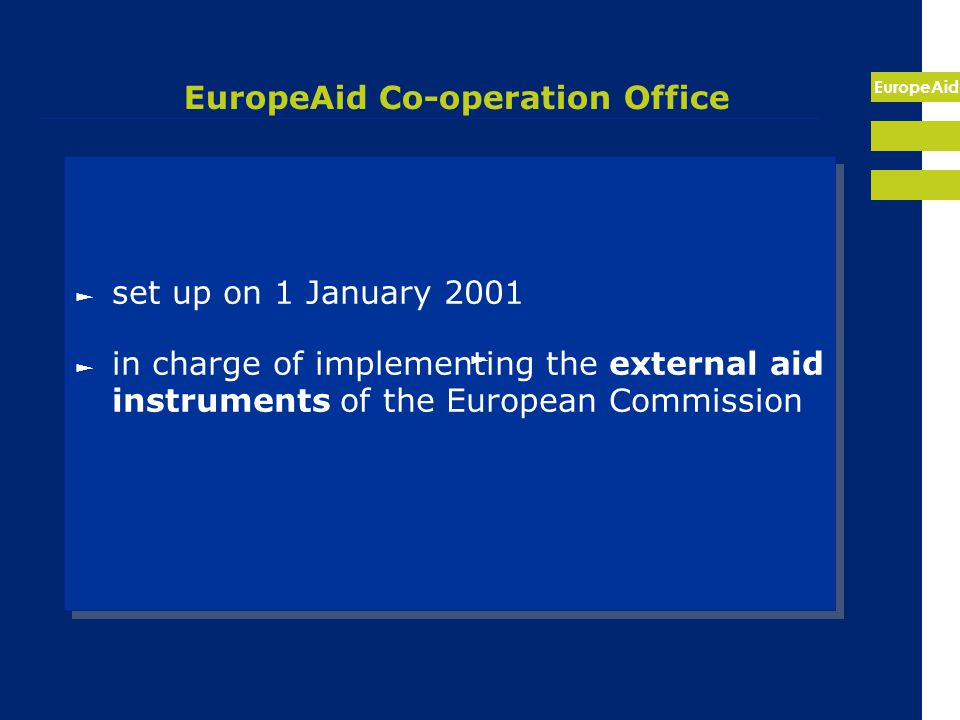 EuropeAid CBC at the external borders – different instruments until 2006 INTERREG - EU border regions Tacis - NIS partner countries (BY, MD, RU, UA) Phare - candidate countries MEDA - South (Medocc, Archimed) Neighbourhood Programmes – transition 2004-06