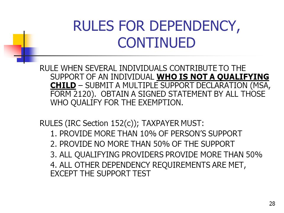 28 RULES FOR DEPENDENCY, CONTINUED RULE WHEN SEVERAL INDIVIDUALS CONTRIBUTE TO THE SUPPORT OF AN INDIVIDUAL WHO IS NOT A QUALIFYING CHILD – SUBMIT A M