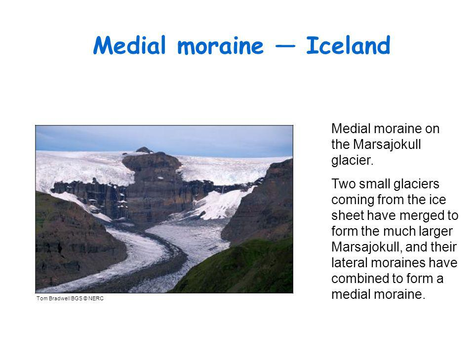 Medial moraine — Iceland Tom Bradwell BGS © NERC Medial moraine on the Marsajokull glacier.