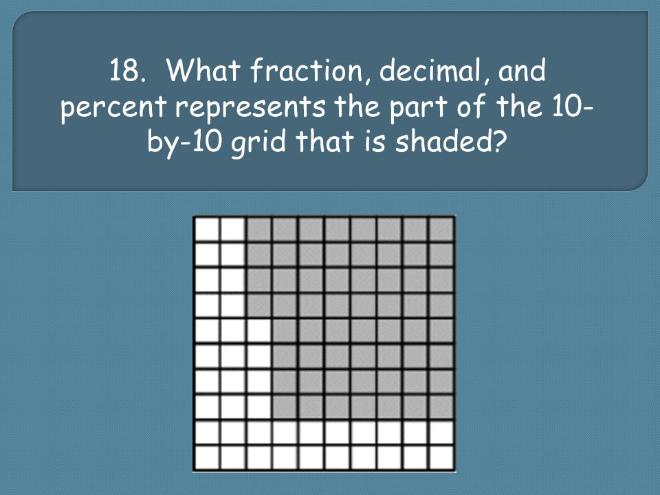 18. What fraction, decimal, and percent represents the part of the 10- by-10 grid that is shaded