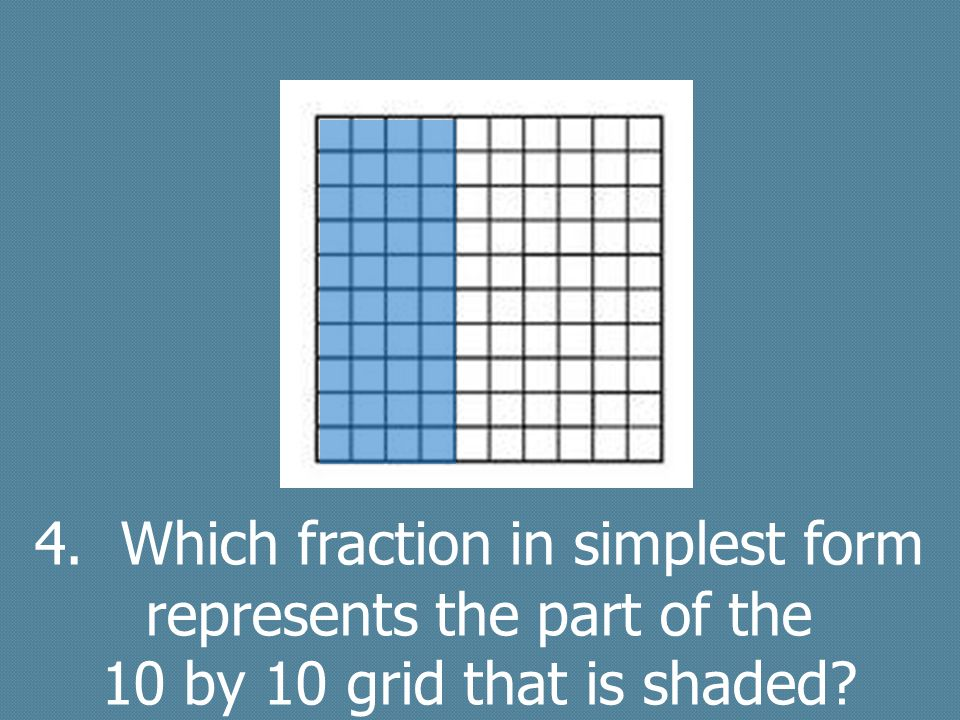4. Which fraction in simplest form represents the part of the 10 by 10 grid that is shaded