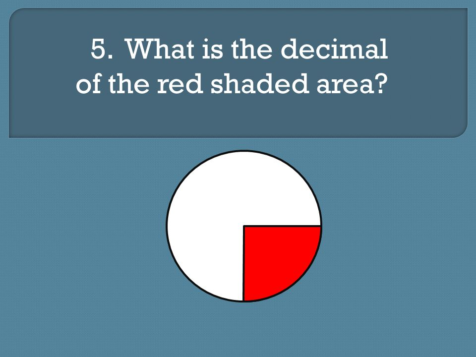 5. What is the decimal of the red shaded area