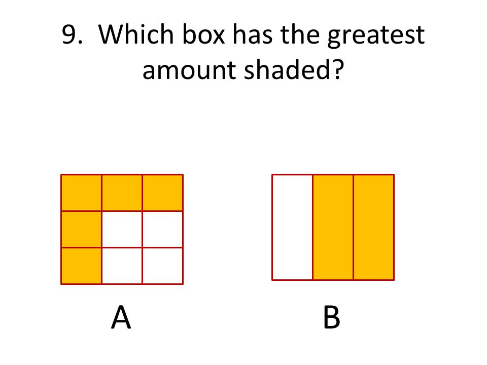 9. Which box has the greatest amount shaded? AB