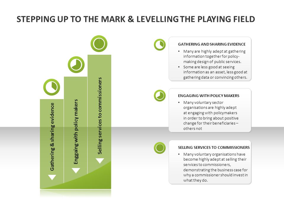 STEPPING UP TO THE MARK & LEVELLING THE PLAYING FIELD Many are highly adept at gathering information together for policy- making design of public services.