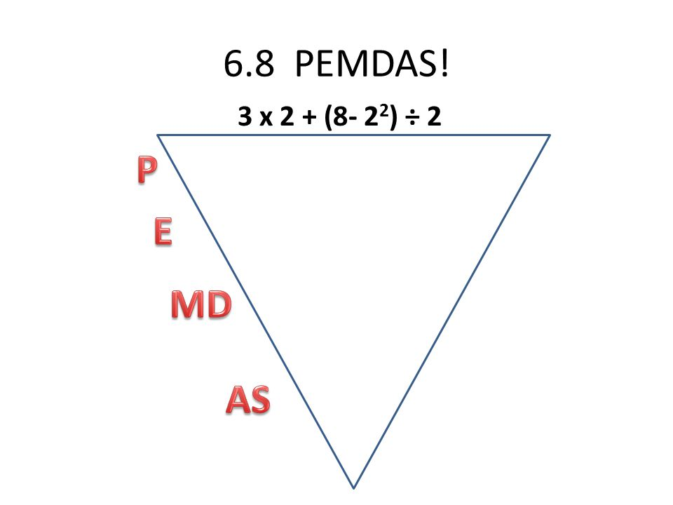6.8 PEMDAS! 3 x 2 + (8- 2 2 ) ÷ 2