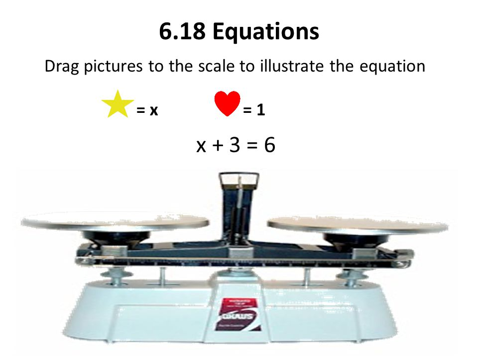 Drag pictures to the scale to illustrate the equation = x = 1 x + 3 = 6 6.18 Equations
