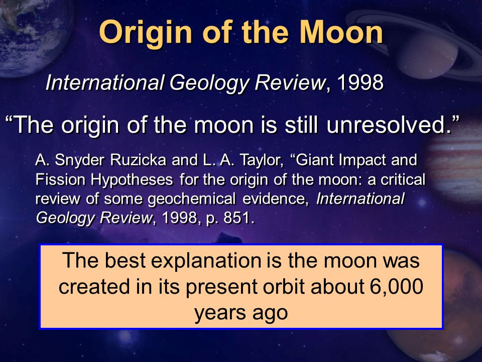 """Origin of the Moon """"The origin of the moon is still unresolved."""" A. Snyder Ruzicka and L. A. Taylor, """"Giant Impact and Fission Hypotheses for the orig"""