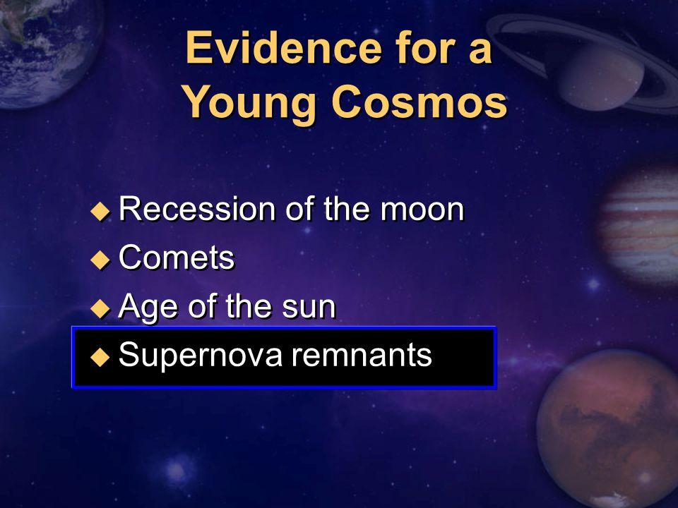 u Recession of the moon u Comets u Age of the sun u Supernova remnants u Recession of the moon u Comets u Age of the sun u Supernova remnants Evidence