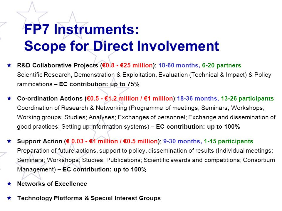 FP7 Instruments: Scope for Direct Involvement  R&D Collaborative Projects (€0.8 - €25 million); 18-60 months, 6-20 partners Scientific Research, Demonstration & Exploitation, Evaluation (Technical & Impact) & Policy ramifications – EC contribution: up to 75%  Co-ordination Actions (€0.5 - €1.2 million / €1 million);18-36 months, 13-26 participants Coordination of Research & Networking (Programme of meetings; Seminars; Workshops; Working groups; Studies; Analyses; Exchanges of personnel; Exchange and dissemination of good practices; Setting up information systems) – EC contribution: up to 100%  Support Action (€ 0.03 - €1 million / €0.5 million); 9-30 months, 1-15 participants Preparation of future actions, support to policy, dissemination of results (Individual meetings; Seminars; Workshops; Studies; Publications; Scientific awards and competitions; Consortium Management) – EC contribution: up to 100%  Networks of Excellence  Technology Platforms & Special Interest Groups