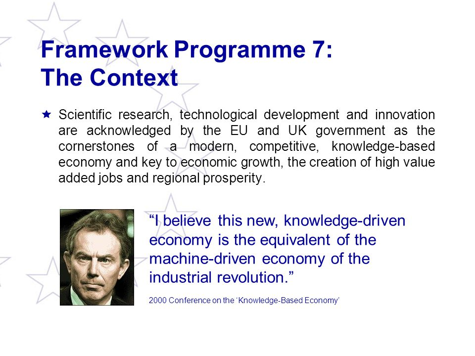 Local Authorities and FP7: Direct Involvement (iv) Regions of Knowledge [CAPACITIES programme]  Aim: Strengthening the research potential of European regions, in particular by encouraging and supporting the development, across Europe, of regional 'research-driven clusters', associating universities, research centres, enterprises and regional/ Local Authorities.