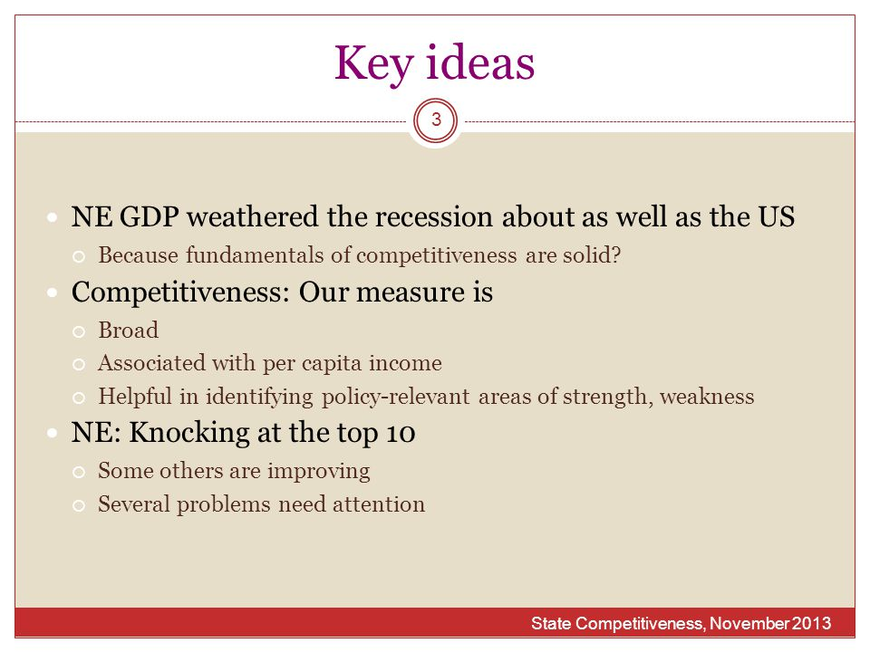 Key ideas State Competitiveness, November 2013 3 NE GDP weathered the recession about as well as the US  Because fundamentals of competitiveness are