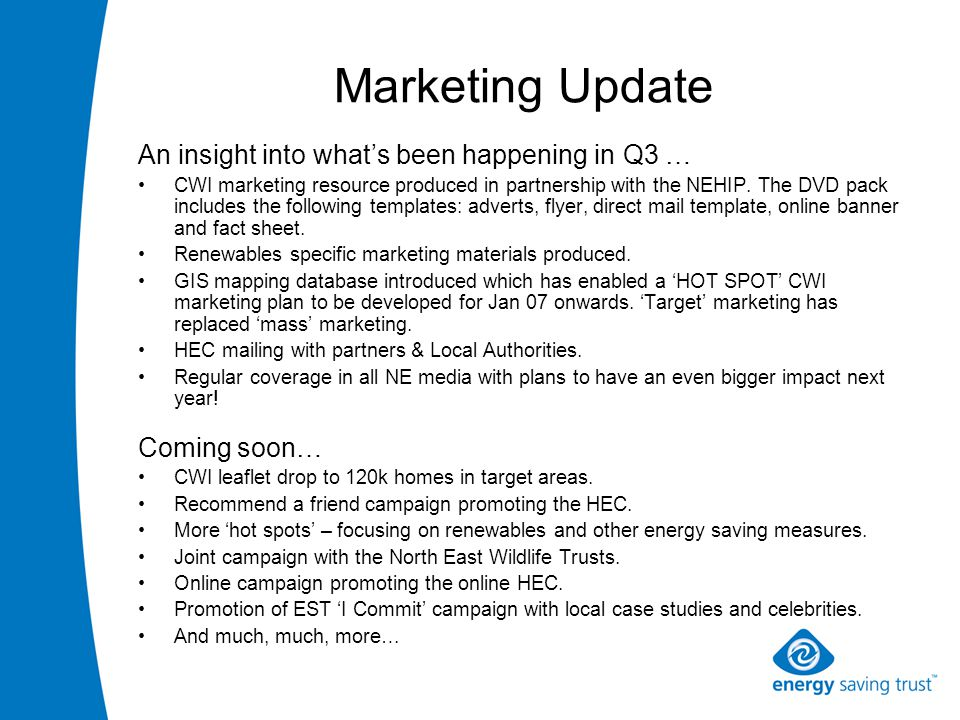 Marketing Update An insight into what's been happening in Q3 … CWI marketing resource produced in partnership with the NEHIP.