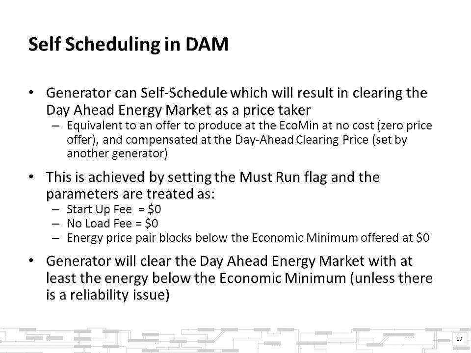 Self Scheduling in DAM Generator can Self-Schedule which will result in clearing the Day Ahead Energy Market as a price taker – Equivalent to an offer to produce at the EcoMin at no cost (zero price offer), and compensated at the Day-Ahead Clearing Price (set by another generator) This is achieved by setting the Must Run flag and the parameters are treated as: – Start Up Fee = $0 – No Load Fee = $0 – Energy price pair blocks below the Economic Minimum offered at $0 Generator will clear the Day Ahead Energy Market with at least the energy below the Economic Minimum (unless there is a reliability issue) 19