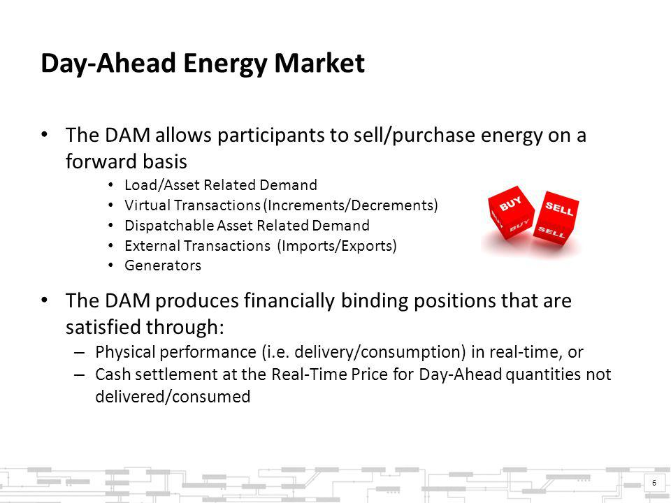 Day-Ahead Energy Market The DAM allows participants to sell/purchase energy on a forward basis Load/Asset Related Demand Virtual Transactions (Increments/Decrements) Dispatchable Asset Related Demand External Transactions (Imports/Exports) Generators The DAM produces financially binding positions that are satisfied through: – Physical performance (i.e.