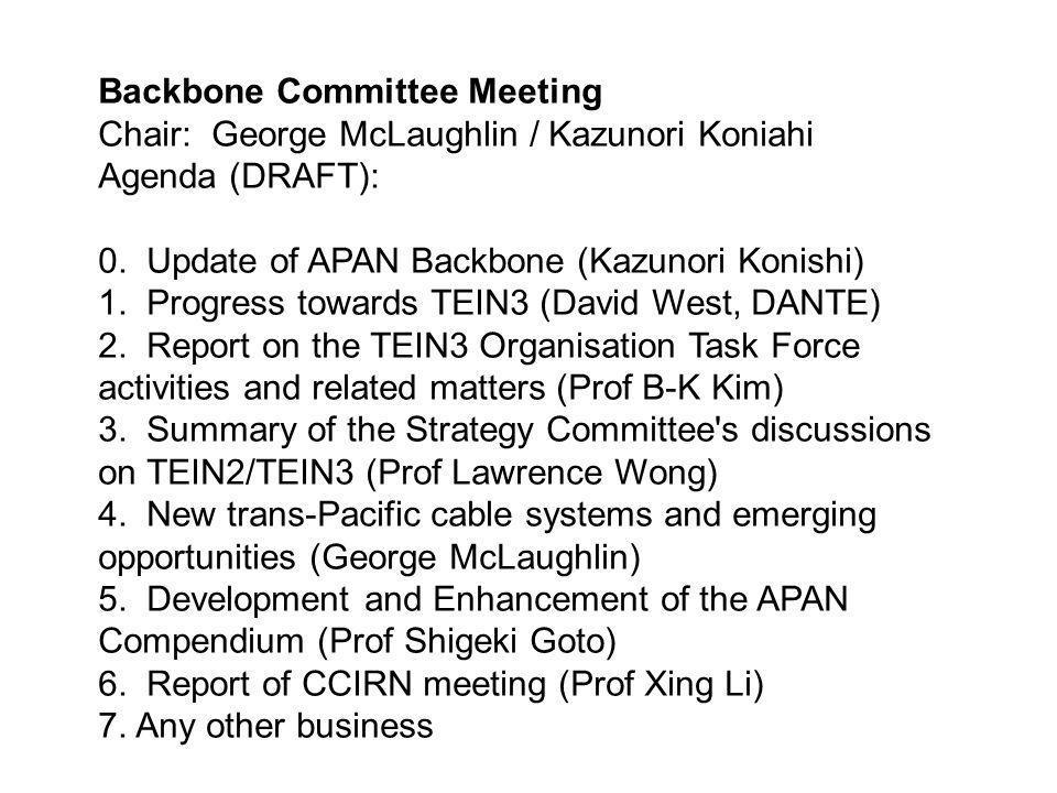 Backbone Committee Meeting Chair: George McLaughlin / Kazunori Koniahi Agenda (DRAFT): 0.