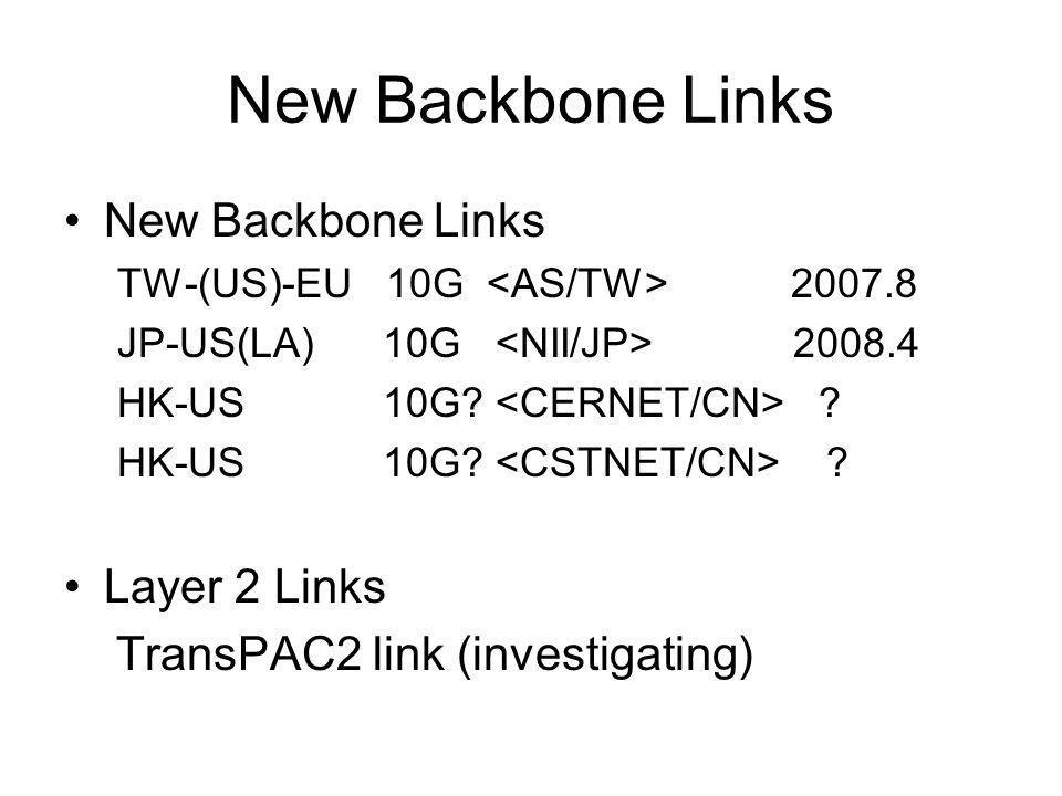 New Backbone Links TW-(US)-EU 10G 2007.8 JP-US(LA) 10G 2008.4 HK-US 10G.