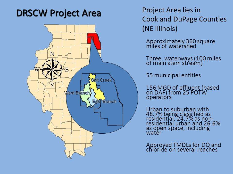 Project Area lies in Cook and DuPage Counties (NE Illinois) DRSCW Project Area Approximately 360 square miles of watershed Three waterways (100 miles of main stem stream) 55 municipal entities 156 MGD of effluent (based on DAF) from 25 POTW operators Urban to suburban with 48.7% being classified as residential, 24.7% as non- residential urban and 26.6% as open space, including water Approved TMDLs for DO and chloride on several reaches