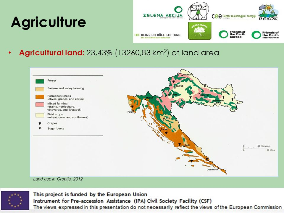 Agriculture Agricultural land: 23,43% (13260,83 km 2 ) of land area Land use in Croatia, 2012