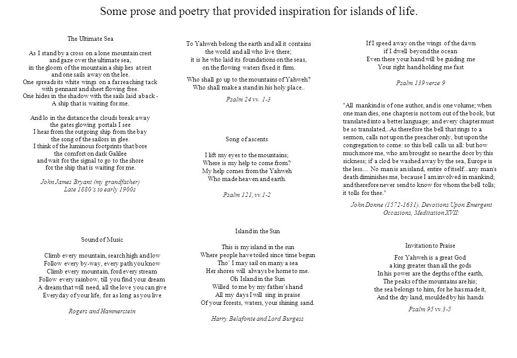 Some prose and poetry that provided inspiration for islands of life.