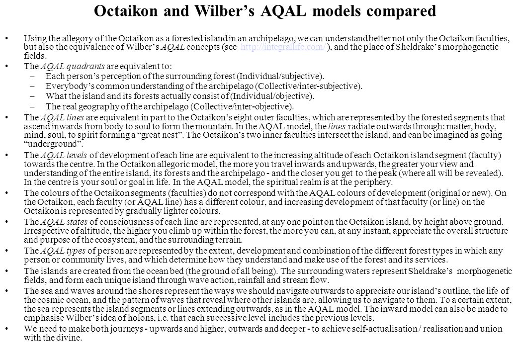 Octaikon and Wilber's AQAL models compared Using the allegory of the Octaikon as a forested island in an archipelago, we can understand better not onl