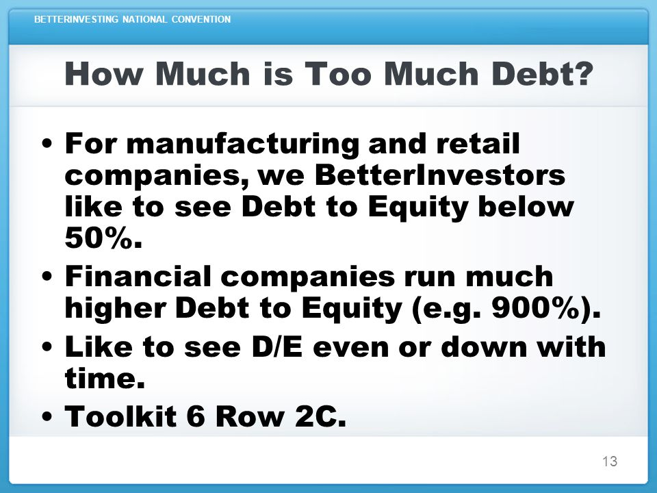 BETTERINVESTING NATIONAL CONVENTION 13 How Much is Too Much Debt.