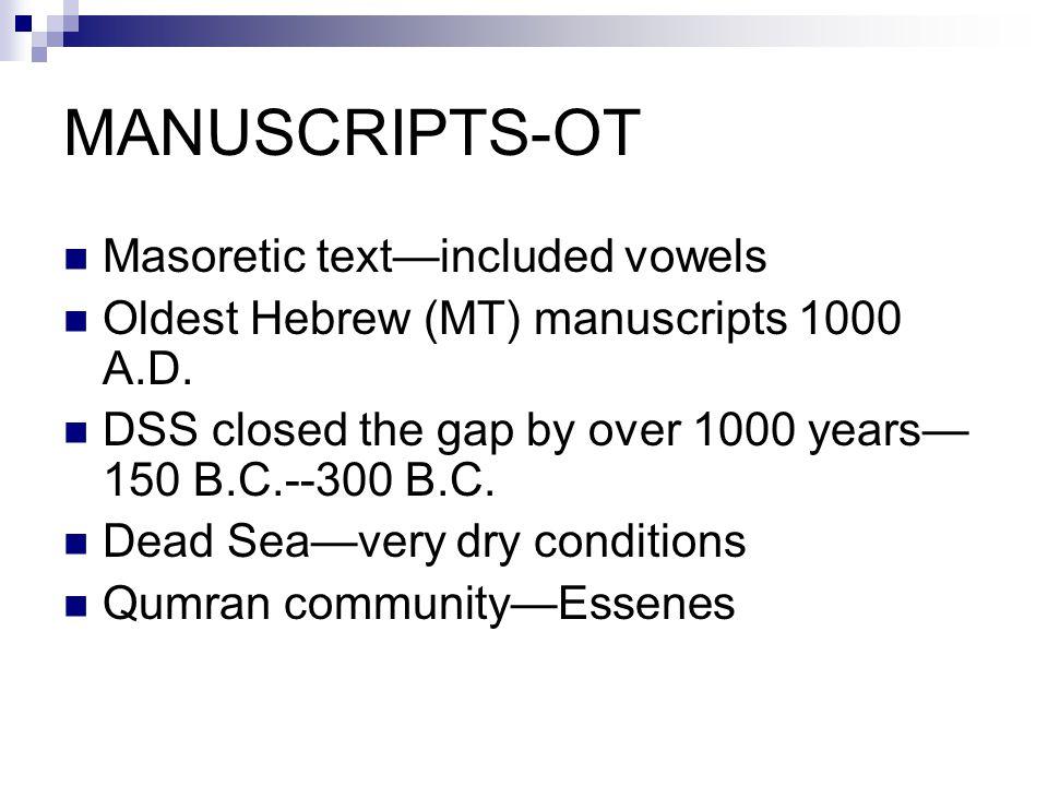 MANUSCRIPTS-OT Masoretic text—included vowels Oldest Hebrew (MT) manuscripts 1000 A.D.