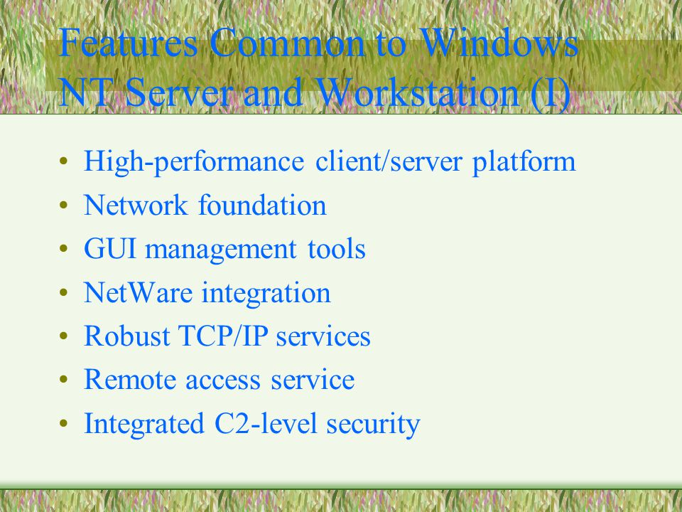 Features Common to Windows NT Server and Workstation (I) High-performance client/server platform Network foundation GUI management tools NetWare integration Robust TCP/IP services Remote access service Integrated C2-level security
