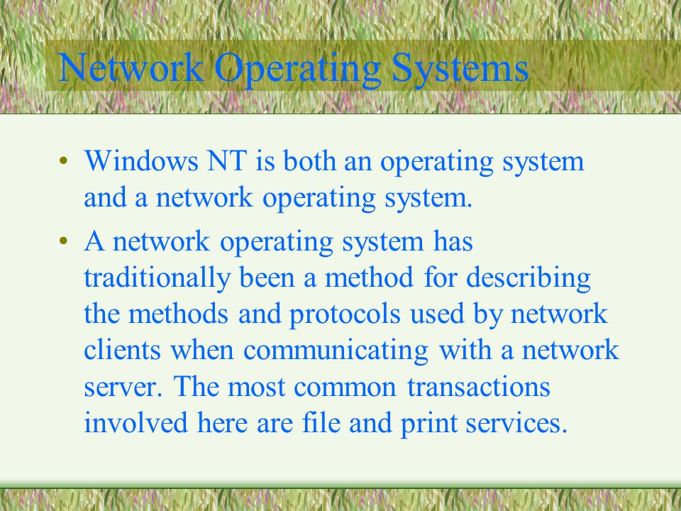 Network Operating Systems Windows NT is both an operating system and a network operating system.