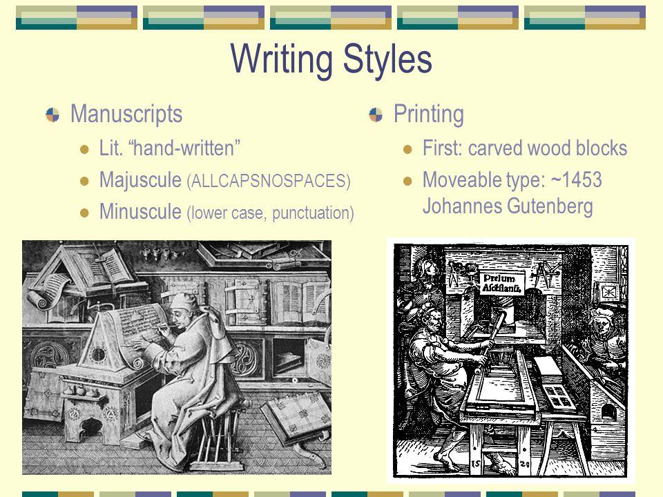 Writing Styles Manuscripts Lit.