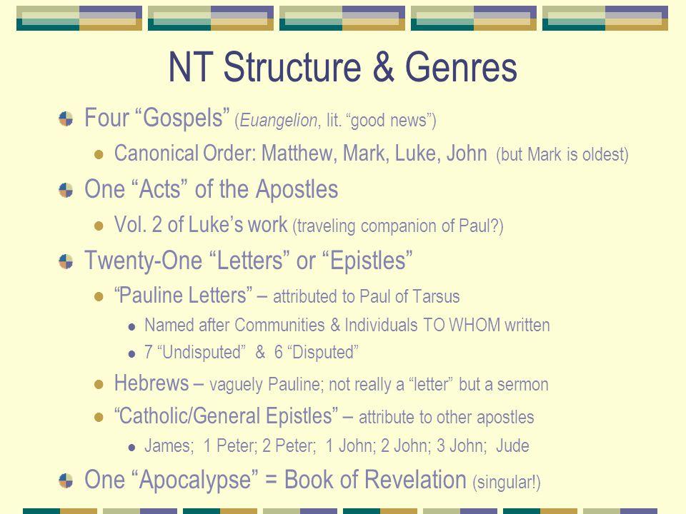 NT Structure & Genres Four Gospels ( Euangelion, lit.