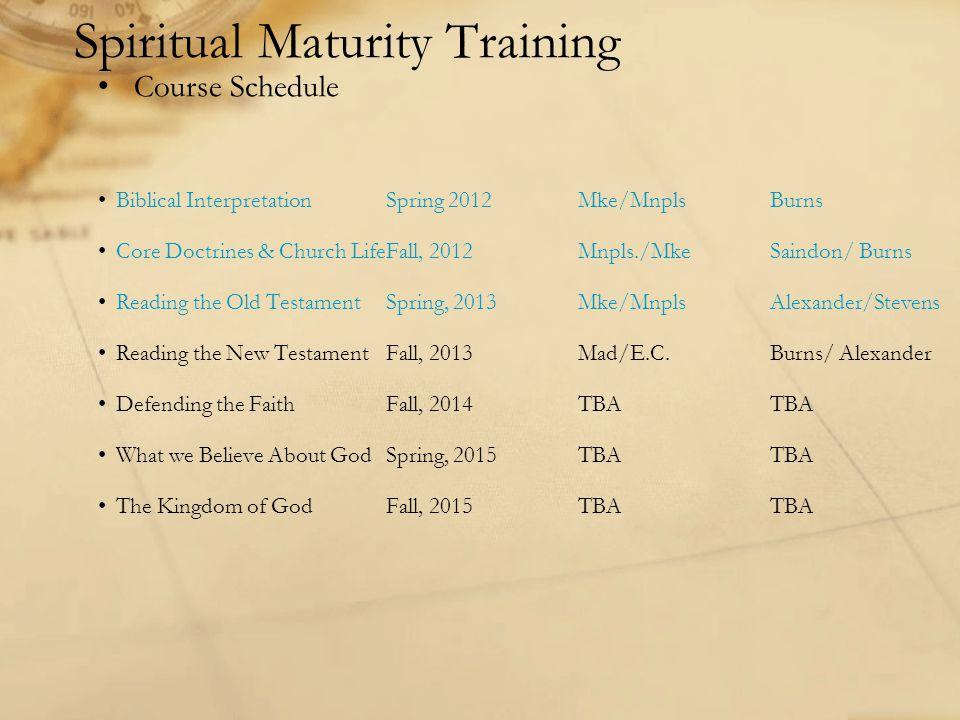 Biblical InterpretationSpring 2012Mke/MnplsBurns Core Doctrines & Church LifeFall, 2012Mnpls./MkeSaindon/ Burns Reading the Old TestamentSpring, 2013M