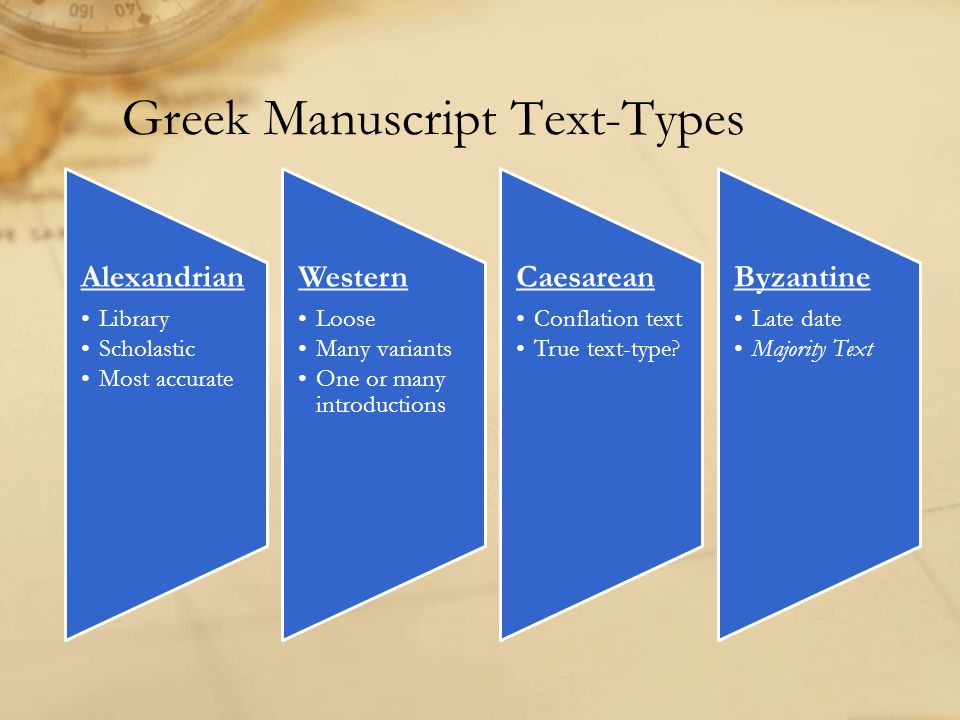 Greek Manuscript Text-Types Alexandrian Library Scholastic Most accurate Western Loose Many variants One or many introductions Caesarean Conflation te
