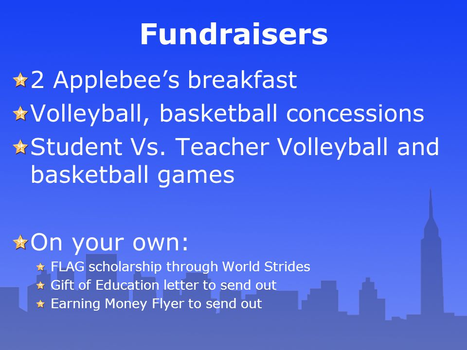 Fundraisers 2 Applebee's breakfast Volleyball, basketball concessions Student Vs. Teacher Volleyball and basketball games On your own: FLAG scholarshi