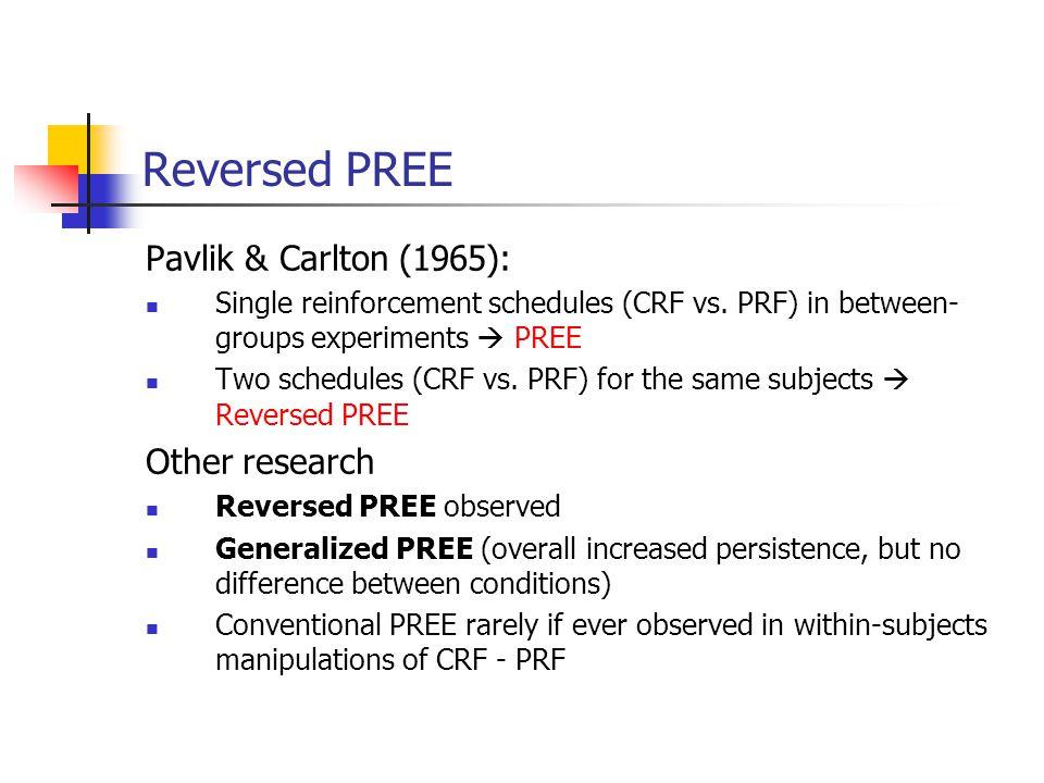 Reversed PREE Pavlik & Carlton (1965): Single reinforcement schedules (CRF vs. PRF) in between- groups experiments  PREE Two schedules (CRF vs. PRF)