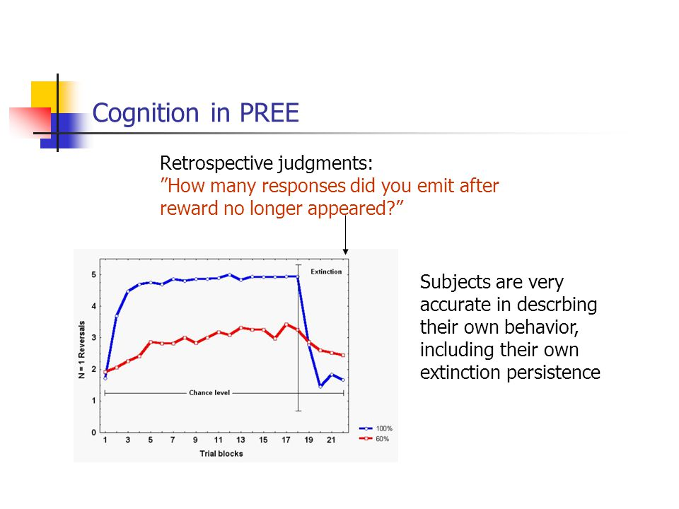 Cognition in PREE Retrospective judgments: How many responses did you emit after reward no longer appeared Subjects are very accurate in descrbing their own behavior, including their own extinction persistence