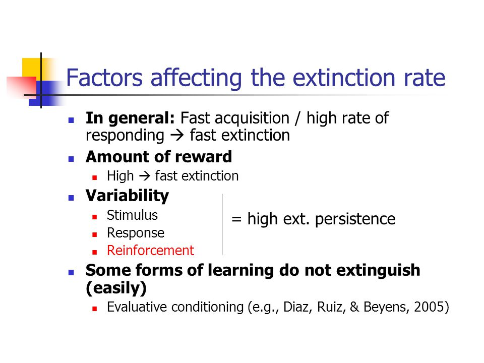 Factors affecting the extinction rate In general: Fast acquisition / high rate of responding  fast extinction Amount of reward High  fast extinction