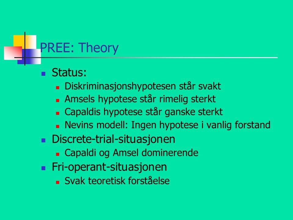 PREE: Theory Status: Diskriminasjonshypotesen står svakt Amsels hypotese står rimelig sterkt Capaldis hypotese står ganske sterkt Nevins modell: Ingen