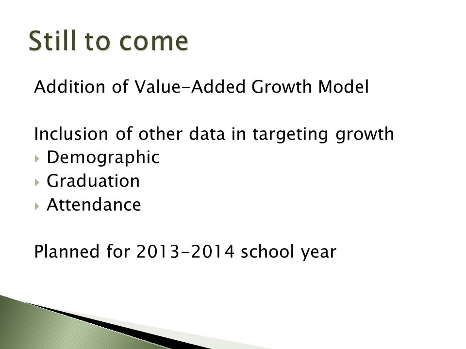 Addition of Value-Added Growth Model Inclusion of other data in targeting growth  Demographic  Graduation  Attendance Planned for 2013-2014 school year