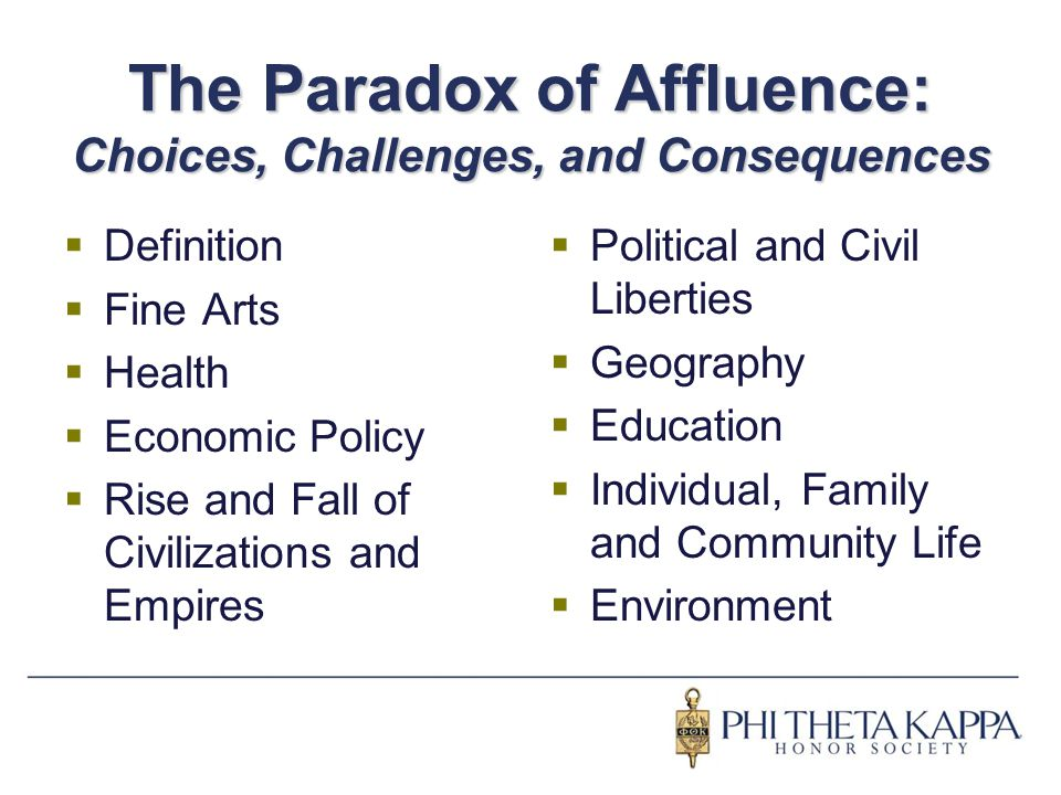 The Paradox of Affluence: Choices, Challenges, and Consequences  Definition  Fine Arts  Health  Economic Policy  Rise and Fall of Civilizations a