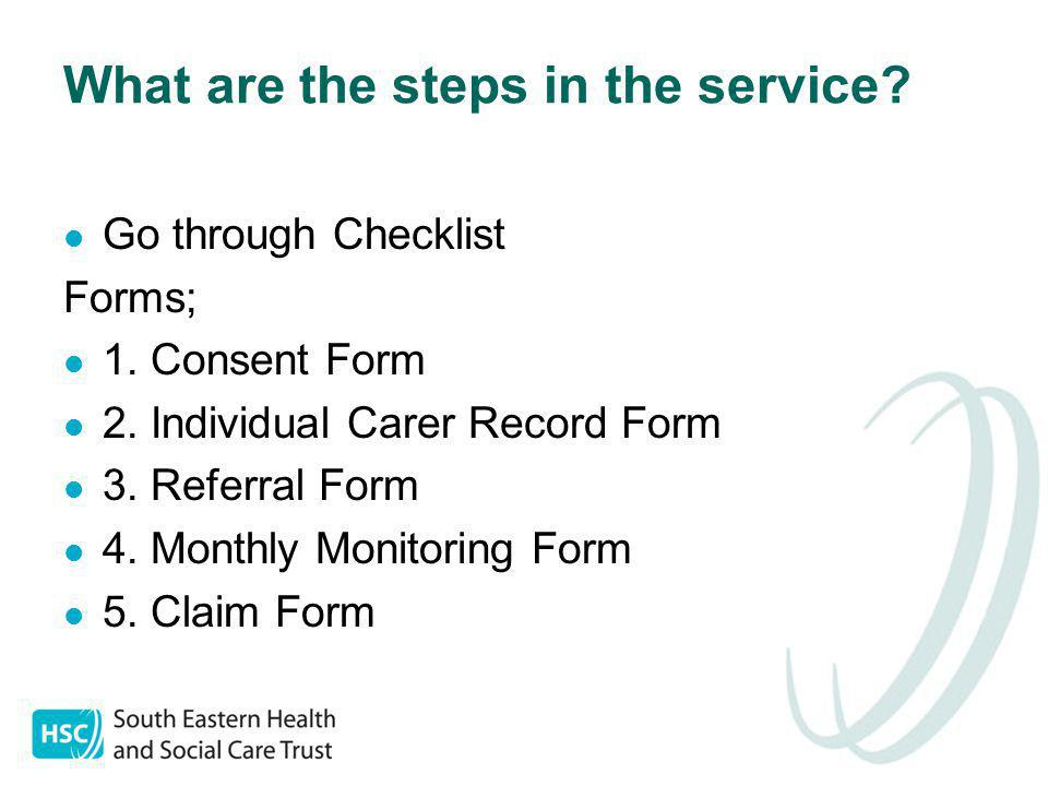 What are the steps in the service.Go through Checklist Forms; 1.