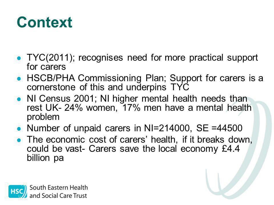 Context TYC(2011); recognises need for more practical support for carers HSCB/PHA Commissioning Plan; Support for carers is a cornerstone of this and underpins TYC NI Census 2001; NI higher mental health needs than rest UK- 24% women, 17% men have a mental health problem Number of unpaid carers in NI=214000, SE =44500 The economic cost of carers' health, if it breaks down, could be vast- Carers save the local economy £4.4 billion pa