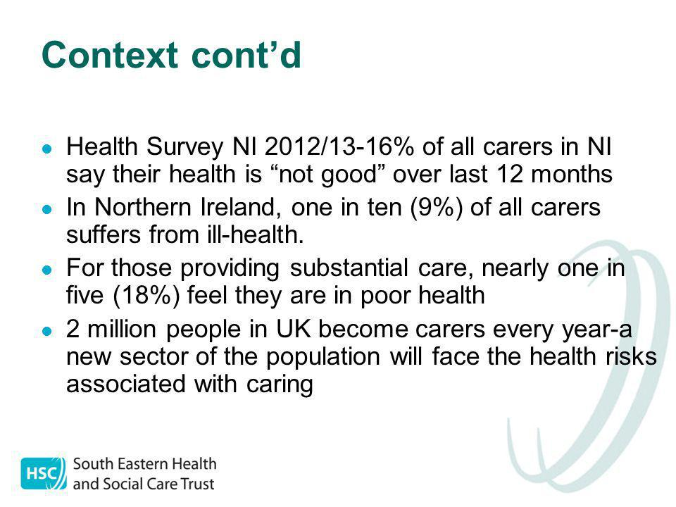 Context cont'd Health Survey NI 2012/13-16% of all carers in NI say their health is not good over last 12 months In Northern Ireland, one in ten (9%) of all carers suffers from ill-health.