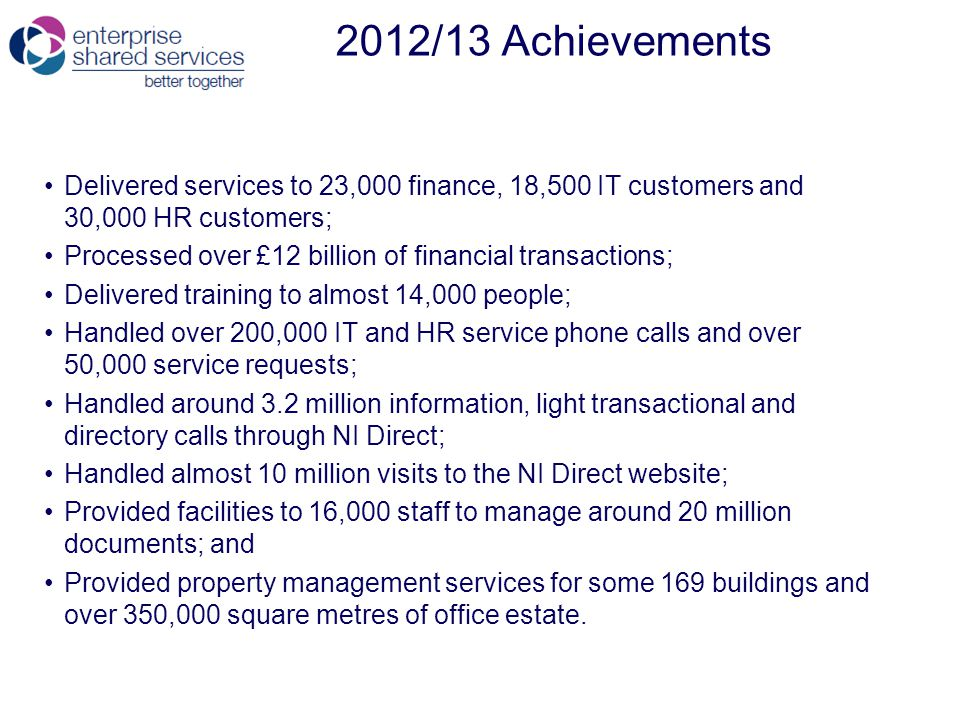 2012/13 Achievements Delivered services to 23,000 finance, 18,500 IT customers and 30,000 HR customers; Processed over £12 billion of financial transactions; Delivered training to almost 14,000 people; Handled over 200,000 IT and HR service phone calls and over 50,000 service requests; Handled around 3.2 million information, light transactional and directory calls through NI Direct; Handled almost 10 million visits to the NI Direct website; Provided facilities to 16,000 staff to manage around 20 million documents; and Provided property management services for some 169 buildings and over 350,000 square metres of office estate.