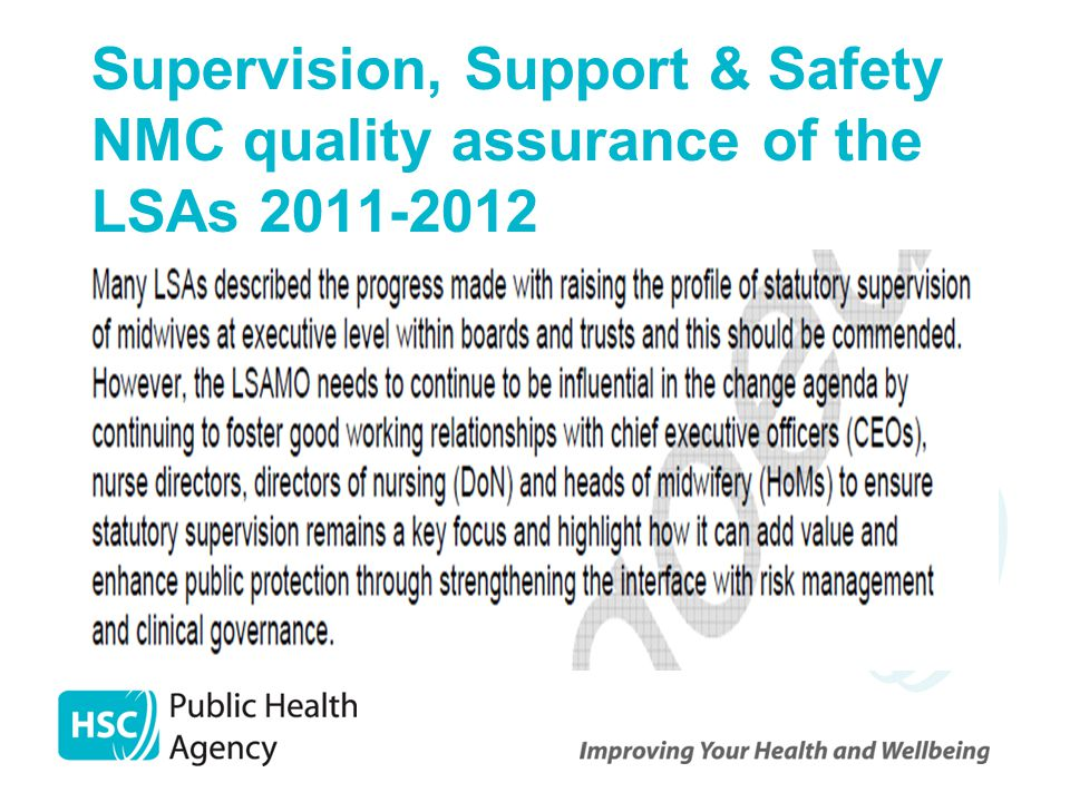 Supervision, Support & Safety NMC quality assurance of the LSAs 2011-2012