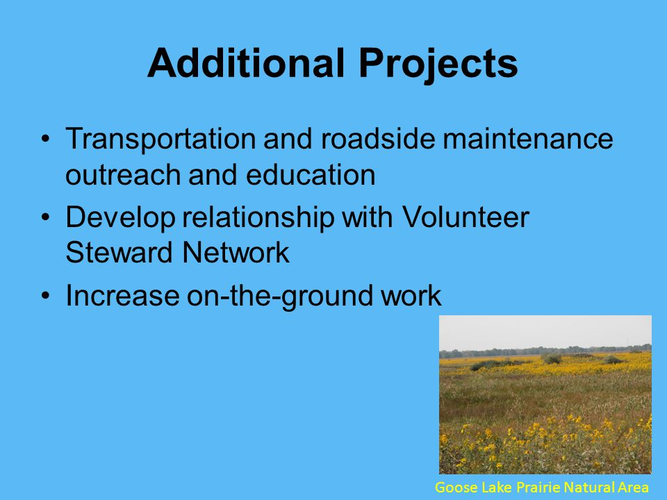 Additional Projects Transportation and roadside maintenance outreach and education Develop relationship with Volunteer Steward Network Increase on-the-ground work Goose Lake Prairie Natural Area