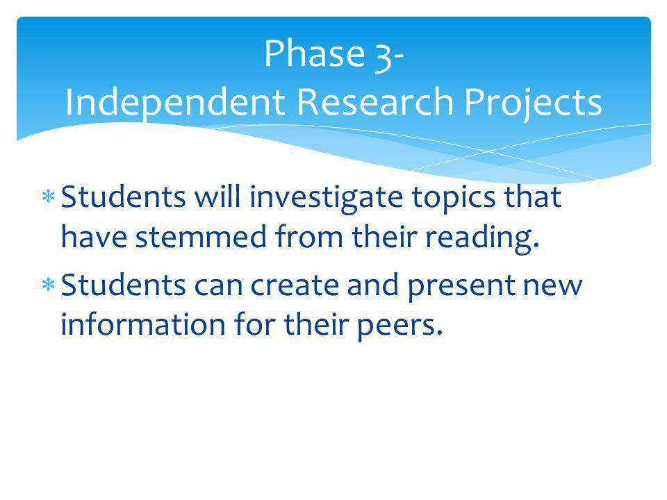  Students will investigate topics that have stemmed from their reading.