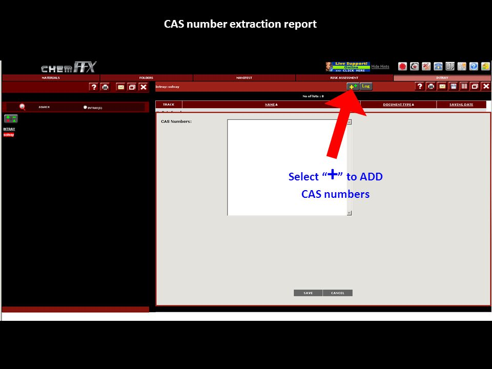 """Select """" + """" to ADD CAS numbers CAS number extraction report"""