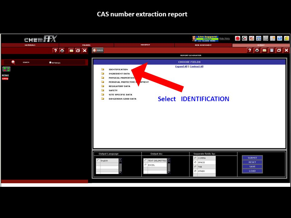 Select IDENTIFICATION CAS number extraction report