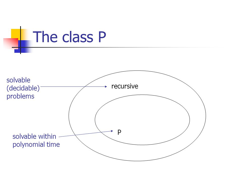 Summary Turing machines model computability The class P: problems (languages) that can be solved in polynomial time using a TM decider The class NP: problems that can be solved in polynomial time using a NDTM (they can be solved in exponential time using a regular TM) Not yet proven whether P  NP There are problems in NP that are NP-complete; i.e., all other NP problems reduce to it Saying that a problem is NP-complete is a statement of hardness of that problem Proving NP-completeness: reduce from a known NP- complete problem