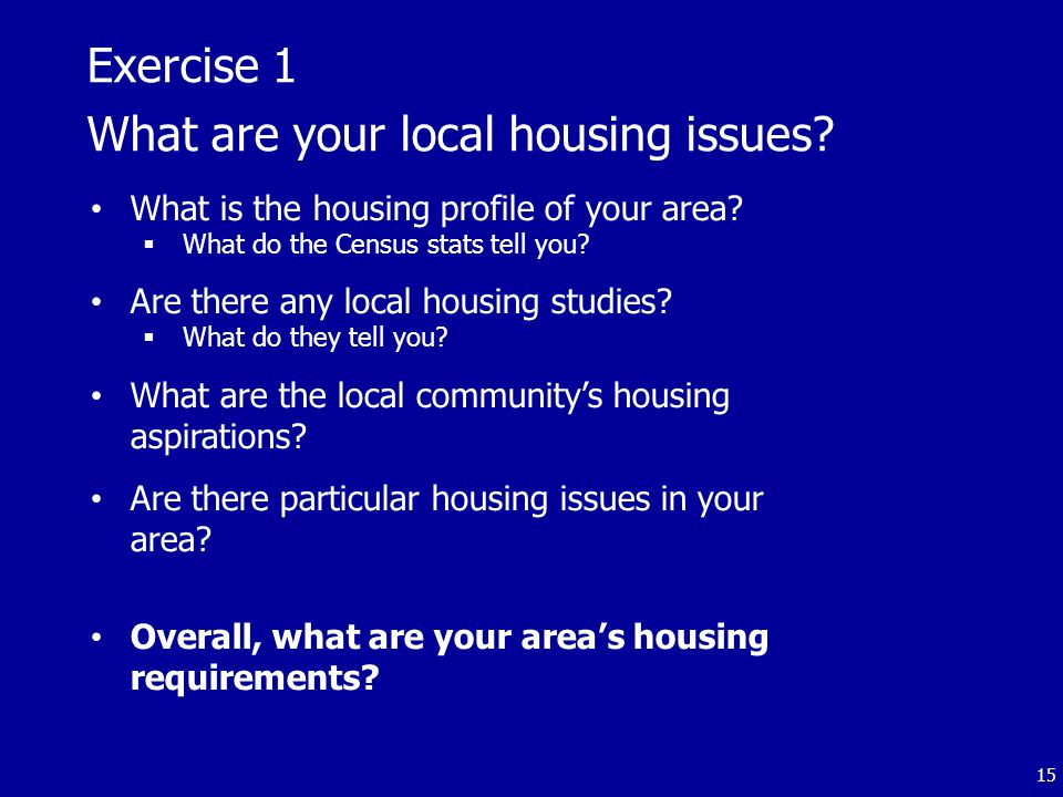 Exercise 1 What are your local housing issues.What is the housing profile of your area.